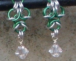 Chainmail  Earrings Silver & Green Aluminum, Swarovski Crystal  Chainmai... - $17.99