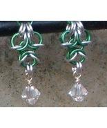 Chainmail  Earrings Silver & Green Aluminum, Swarovski Crystal  Chainmai... - $17.99