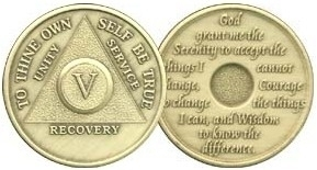 Primary image for 45 YR Anniversary AA Alcoholic Recovery Bronze Medallion Coin *STOCK PIC*
