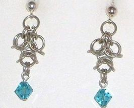 Chainmail Earrings in Argentium Sterling Silver Swarovski Crystal  Chain... - $17.99