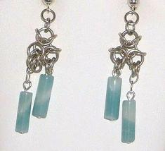 Chainmail Earrings in Argentium Sterling & Amazonite  Chainmaille - $15.99