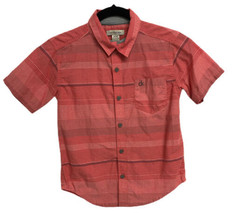Calvin Klein Jeans Red Striped Short Sleeve Button Up Shirt Boys SIZE 8 - $14.84