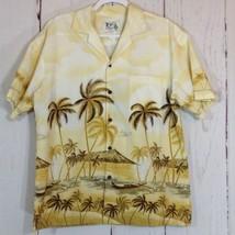 Ky's Hawaiian Shirt Yellow Palm Trees Island Plane Boat Size Medium - $13.06