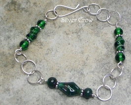 Vintage  Green Art Glass & Argentium Sterling Silver Chain Style Bracelet - $19.99