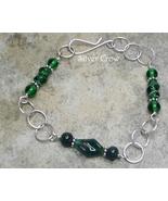 Vintage  Green Art Glass & Argentium Sterling Silver Chain Style Bracelet - $19.99