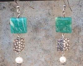 Amazonite Gemstone & Sterling Silver Squares Dangle Earrings - $20.99