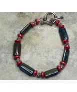 Bloodstone Gemstone & Coral Sterling Silver Bracelet - $20.99
