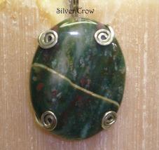 Bloodstone & Sterling Silver Prong Set Pendant - $12.99