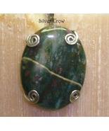 Bloodstone & Sterling Silver Prong Set Pendant - $12.99