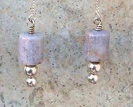 Lavender Burro Creek Agate Gemstone Sterling Silver Threader Earrings - $21.99