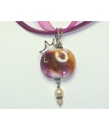 Cranberry & Amber Lamp Work Pearl & Sterling Silver Pendant Necklace  - $19.99