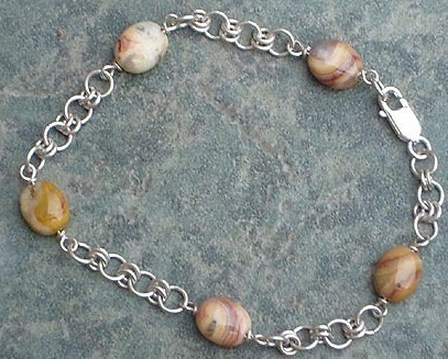 Crazy Lace Agate Gemstone & Sterling Silver Chain Bracelet