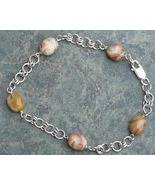 Crazy Lace Agate Gemstone & Sterling Silver Chain Bracelet - $21.99