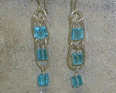 Aqua Crystal & Argentium Sterling Silver Ladder Style Earrings