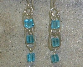 Aqua Crystal & Argentium Sterling Silver Ladder Style Earrings - $22.99