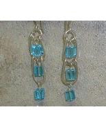 Aqua Crystal & Argentium Sterling Silver Ladder Style Earrings - $22.99
