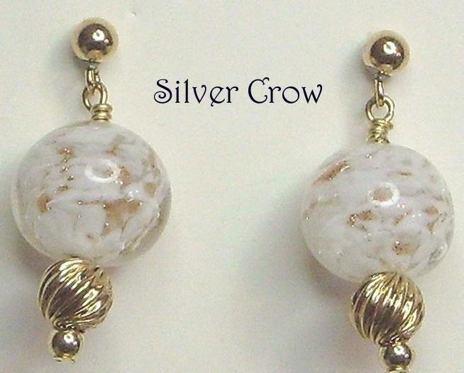 White & Gold Venetian Glass & Gold Fill Post Earrings