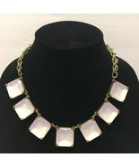 Ann Taylor Loft Silver tone Purple pink square chunky statement necklace... - $18.98