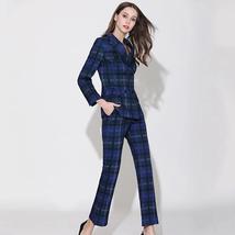 European Brand Runway Designer Blue Plaid Fashion Blazer Pant Suit Set image 3