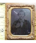 Tintype Photo Handsome Man Brass Matt & Frame! c.1865-80 - $8.00