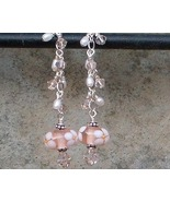 Peach & White Floral Lamp Work, Swarovski Crystal & Sterling Silver Earr... - $25.99