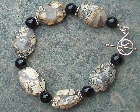 Silverleaf, Black Onyx Gemstones & Sterling Silver Bracelet