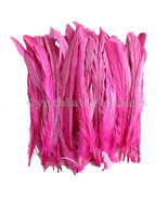 "50 pcs 8-10"" long Hot Pink Dyed Rooster COQUE tail Feathers for crafting... - $10.39"