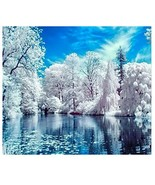 Mobicus 5D DIY Diamond Painting by Number Kits,Lake Snow(16X12inch/40X30cm) - $9.17