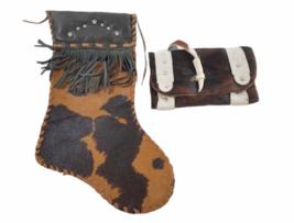 Leather Suede Cowhide Handcrafted Lot - Belt Handbag Bag Purse Clutch Stocking image 2