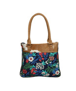 Beatific Small Floral Tote Bag with a Hairon Hide Patch Purse with Back ... - $41.95