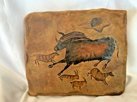 Bradford Exchange The Dawn of Man Running Leaping Bull Stone Tile Wall Plaque - $35.00