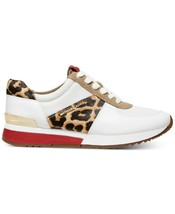 Michael Kors MK Women's Allie Trainer Leather Sneakers Shoes Natural Cheetah image 2