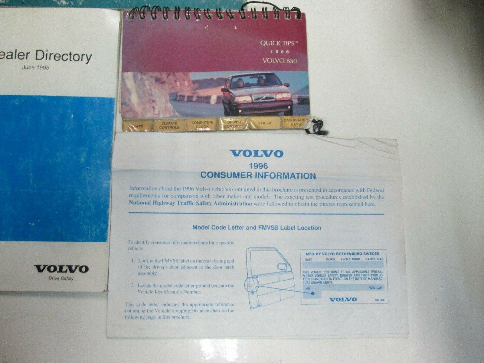 1996 Volvo 850 Owners Manuell Set Wasser Beschädigt Neu Fabrik OEM Buch 96 *** image 4