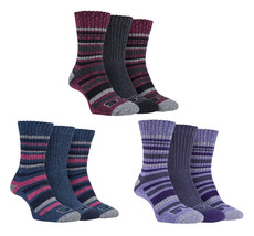 Storm Bloc - 3 Pack Womens Striped Cushioned Ribbed Hiking Boot Socks fo... - $12.99