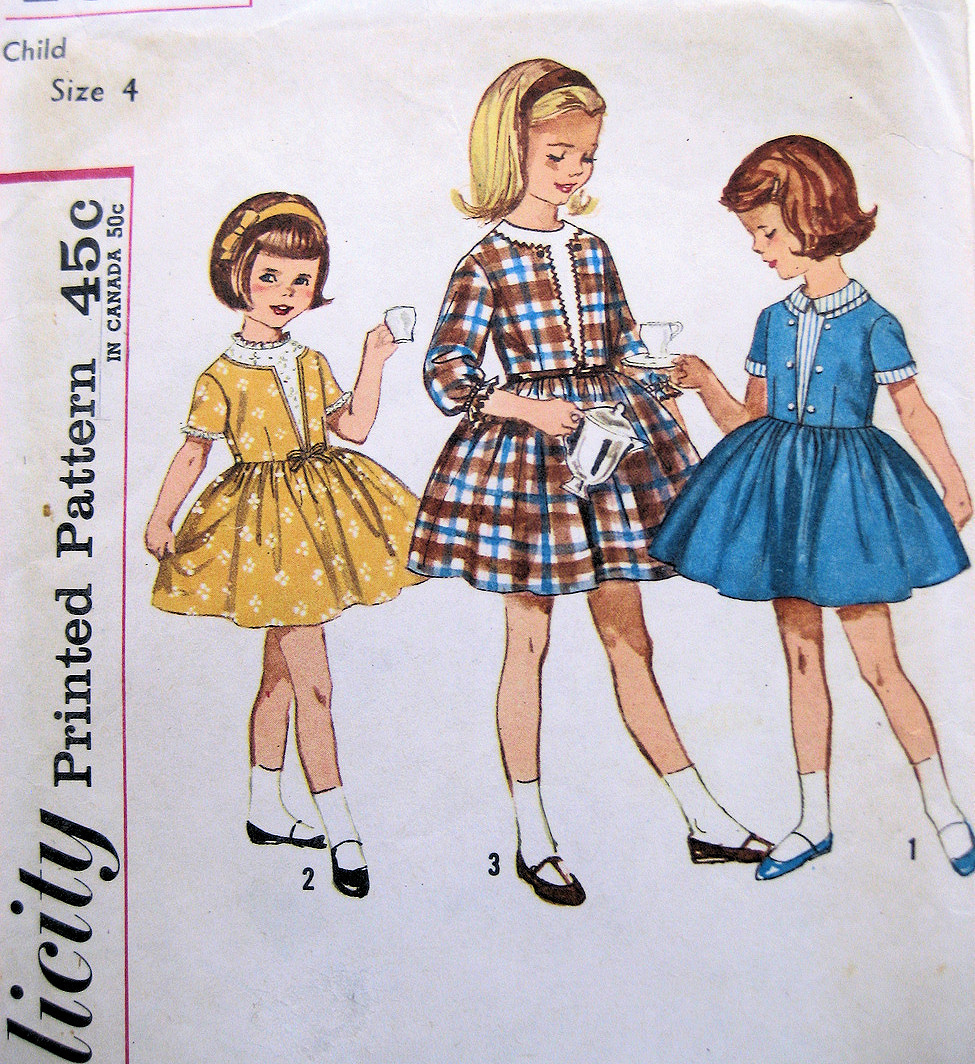 Simplicity 4662 Vintage 50s Pattern Girls Party Dress Flower Girl Cut
