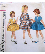 Simplicity 4662 Vintage 50s Pattern Girls Party Dress Flower Girl Cut - $9.95