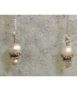 Peach Pearl ,Crystal & Sterling Silver Threader Earrings - $15.99
