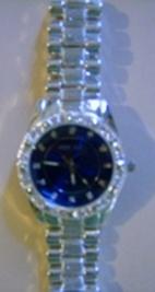 Platinum Ballin Blue Watch / Square Bezel Hiphop Watch