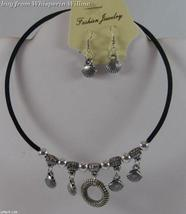 Black & Antique Silver Donut Round and Clamshells Necklace - $6.99