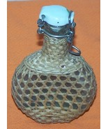 Vintage 50s Miniature Liquer Bottle Flask Bamboo Covering  - $35.00