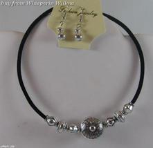 Black & Antique Silver Coin Necklace/Bracelet/Earring Set - $9.99