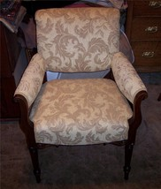 Carved Walnut Armchair Parlor Chair gold leaf print chenille - $435.40