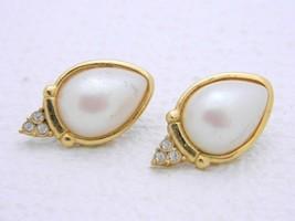 VTG RICHELIEU Signed Gold Tone Faux Pearl Rhinestone Post Earrings - $19.80