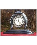 Old 1939 Chrome Art Deco Lux Good Luck Horseshoe Clock - $45.00