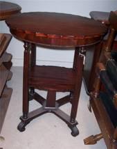 Mahogany 2-Tier Round Beaded Parlor Table/Lamp Table - $385.68