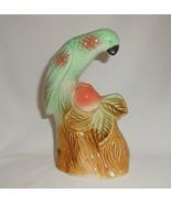 Ceramic Parrot Figurine Vintage 1950s Hand Painted Brazil  - $19.00