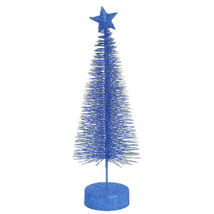 "2 Lavish Blue Glitter Sisal Artificial Table Top Christmas Trees 8"" - tkcc - $35.95"