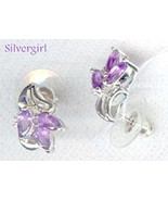 Sterling Silver Genuine Amethyst CZ Cluster Ear... - $69.99
