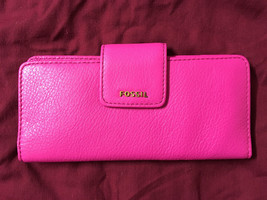 NWT Fossil Madison Hot Pink Pebbled Leather Clutch + 25% off your next o... - $33.99