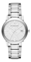 Burberry Mens Watch BU9000 Large Check Silver Dial 38mm Stainless Steel strap - $257.00